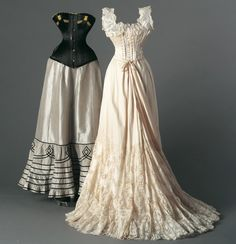 Left: Satin corset with taffeta petticoat, c, 1895.  Right: Silk corset, chemise and lace trimmed petticoat, c.1900.