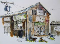 I love the colors in this painting!  Urban Sketchers Midwest