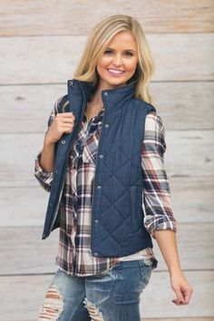 Ready For Adventure Quilted Vest Vest Outfits For Women, Trendy Fall Outfits, Spring Outfits Women, Casual Outfits, Clothes For Women, Winter Outfits, Casual Shirts, Flannel Outfits, Flannel Shirts For Women