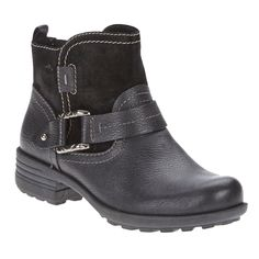 Earth Origins PARIS Womens Black Leather Harness Strap Side Zip Ankle Boots >>> Read more reviews of the product by visiting the link on the image.