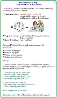 De delen van de dag (dagindeling) / standaardtaal in Nederland (3)