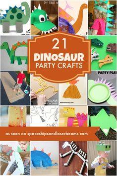 21 Dinosaur Crafts Ideas Dinosaur Birthday Party Craft Ideas and Activities Dinosaur Birthday Party, 3rd Birthday Parties, Boy Birthday, Birthday Ideas, Elmo Party, Mickey Party, Sleepover Party, Dinosaur Party Activities, Dinosaur Crafts