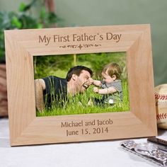 Personalized My First Fathers Day Wood Picture Frame Engraved Dad Photo Frame - 11 Main