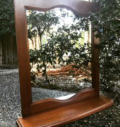 Marks arquetry: hanging wall mirror with a lovely finish and a perfume shelf. [sample] #veneer #grain #marquetry #inlay #woodinlay #mirror #hanging #wall #wallart #reflection #artisan #art #craft #woodwork #woodworking #tools #build #wood #timber #woodart #australia #local #queensland #herveybay #supportlocal #handmade #create #supporthandmade #sydney #brisbane de marks_marquetry