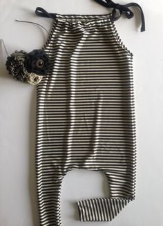 Black & White Stripe Harem Style Romper, 3-6 mo. up to 2T on Etsy, $40.00