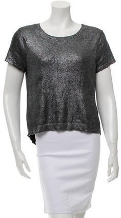 Black Dolce & Gabbana sheer mesh top with tiered cap sleeves, raw edge trim and single button closure at nape. Sheer Mesh Top, Zac Posen, Hoodies, Sweatshirts, Rib Knit, Cap Sleeves, Crew Neck Sweatshirt, Cool Outfits, Crop Tops