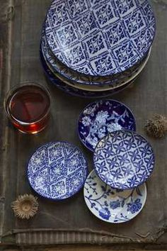 Set of four Handpainted Blue Dishes