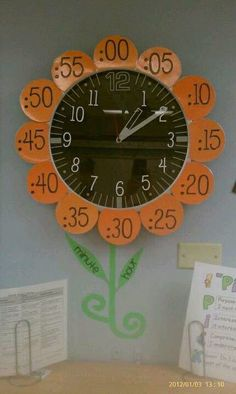 Classroom Clock to help students when they are learning to tell time, Classroom Clock, Classroom Displays, Future Classroom, School Classroom, Classroom Decor, Teaching Time, Teaching Tools, Teaching Math, Classroom Organisation