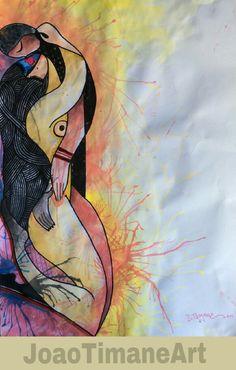 "Jo e Ju na intimidade  Pintura de joao timane Mista sobre papel  60/40cm 2015  Joaotimaneart#pintura#arte#illustration#painting#art""afroamerican#africa#mozambique#artist#watercolor#acrilic#canvas#desenho#comic#drawing"