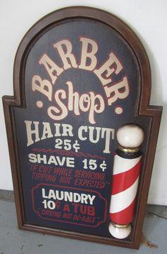 """Fine Quality 20th C. Paint decorated Barber shop  sign 36""""h Auction Estimate 100-300"""