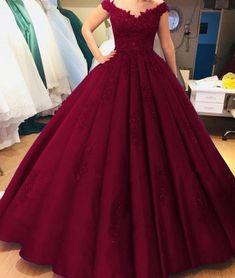 Princess Burgundy Quinceanera Dresses Ball Gowns V-Neck Sweet 16 Dress vestidos de quinceañera
