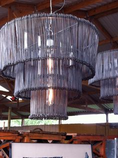 TELA...this is how we can make a huge chandelier over the dance floor...graduated circles with hanging lights