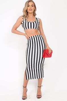 44654d08ea080 Black And White Stripe Body Con Skirt And Crop Top Co-Ord - Loyola