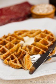 Oatmeal Waffles | http://laurassweetspot.com (Alton Brown recipe). Ingredients: old fashioned rolled oats, flour, sugar, baking powder & soda, salt, eggs, butter, buttermilk