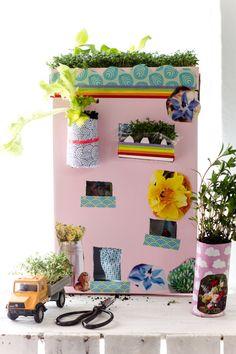 Upcycling DIY - Basteln mit Kindern. Unser grünes Haus für die Fensterbank by http://titatoni.blogspot.de/
