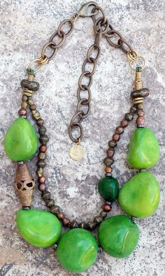 Green Tagua Necklace:Bold and Organic Green Tagua Nut and African Brass Statement Necklace
