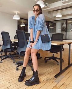 Blue Babydoll Dress and Combat Boots - Blue Babydoll Dress and Combat Boots Source by aureliennne - Mode Outfits, Fashion Outfits, Womens Fashion, Fashion Trends, Abaya Fashion, Fashion Hats, Girl Outfits, Combat Boot Outfits, Combat Boots Dress