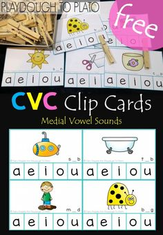 Free middle vowel sound clip cards. Fun word family activity or CVC literacy center for kindergarten or first grade!
