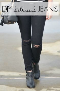 make own distressed black jeans
