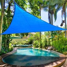 Ft Triangle Outdoor Sun Shade Sail Canopy Blue PE Material UV Protection Portable for Park Beach Patio Swimming Pool Spa Shading Sunscreen Top Overhead Cover Sail Canopies, Backyard Canopy, Patio Canopy, Canopy Outdoor, Canopy Tent, Garden Canopy, Ikea Canopy, Canopy Curtains, Canopy Bedroom