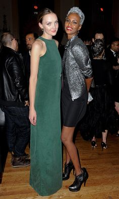 Supermodels Heather Marks (in Malorie Urbanovitch) and Yasmin Warsame.  Photo: George Pimentel Photography