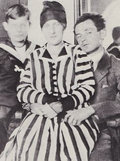 Egon Schiele and wife Edith (muse) with Striped Dress Sitting, ca 1915.