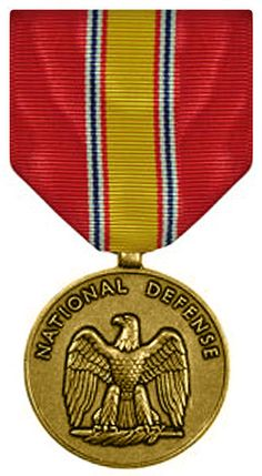 National Defense Service Medal - authorized for his service during the Vietnam War again during the Persian Gulf War (see ribbon below for multiple war awards - service ribbon with service star representing additional wartime) Us Military Medals, Army Medals, Military Ranks, Military Insignia, Navy Military, Military Police, Military Ribbons, Vietnam Veterans, Vietnam War