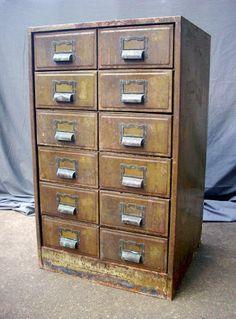 Vintage Metal Drugstore File Cabinet with 12 Drawers by urgestudio Industrial Chic, Industrial Furniture, Vintage Industrial, Antique Furniture, Industrial Storage, Industrial Design, Vintage Drawers, Vintage Metal, Vintage Cabinet