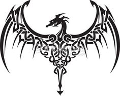 Image result for dragon silhouette tattoo