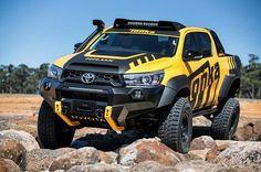 Toyota HiLux transformed into Tonka truck Toyota Hilux, Toyota 4x4, Toyota Trucks, Toyota Cars, 4x4 Trucks, Custom Trucks, Cool Trucks, Cool Cars, Cars Land