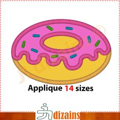 Doughnut applique design. Machine embroidery design - INSTANT DOWNLOAD - 14 sizes. Donut applique design. Embroidery design. by JLdizains on Etsy
