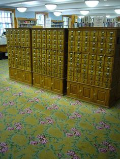 I want these card catalogs and the carpet in my house