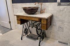Antique Singer sewing machine sink!