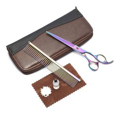 AnKioo 7inchs Professional PET DOG Grooming Shears Cutting scissors and grooming comb suit,Rainbow Color * Be sure to check out this awesome product.