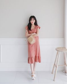 #Dahong(MT) style2017 #summerlook #SoYeon Long Skirt Fashion, Frock Fashion, Modest Fashion, Fashion Outfits, Fashion Trends, Simple Dresses, Pretty Dresses, Casual Dresses, Korea Fashion