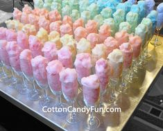 Fill with cotton candy and as guests arrive, pour champagne OR 7-Up for the kiddos!