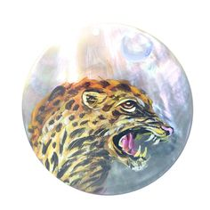 Creative Pendant  Hand Painted Leopard Natural Black Lip Shell  ZL301932 #ZL #Pendant