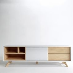Open shelves for DVD player and record player (just deeper). Records in cupboard games and DVDs in drawers. Tv Furniture, Modern Furniture, Furniture Design, Tv Rack, Muebles Living, Living Room Tv, Cabinet Design, House Design, Tv Wall Design