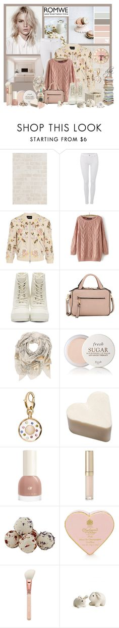 """ROMWE Loose Pink Sweater"" by dgia ❤ liked on Polyvore featuring 7 For All Mankind, Needle & Thread, adidas Originals, Urban Expressions, Sophie Darling, Fresh, Kate Spade, By Terry and Laura Ashley"