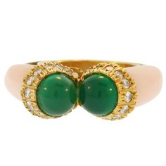 1970s  Cartier  Angel skin Coral Chrysoprase Diamond Ring  | From a unique collection of vintage cocktail rings at http://www.1stdibs.com/jewelry/rings/cocktail-rings/