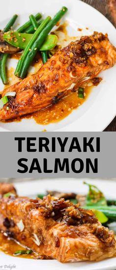 #maindish Quick Salmon Recipes, Best Seafood Recipes, Healthiest Seafood, Best Dinner Recipes, Clean Eating Shrimp, Roast Fish, Teriyaki Salmon, Homemade Teriyaki Sauce, Fast Easy Meals