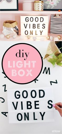 DIY a cinema lightbox to add a bright new addition to your bedroom or home.  Using simple supplies like craft plastic, letter stickers and battery-operated LED lights, you'll create a stylish black-and-white marquee with words that'll help keep your space nice and calm. http://www.ehow.com/how_12343455_create-lightbox-thats-good-vibes.html?utm_source=pinterest.com&utm_medium=referral&utm_content=freestyle&utm_campaign=fanpage