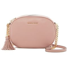 MICHAEL Michael Kors Ginny Leather Tassel Crossbody (€105) ❤ liked on Polyvore featuring bags, handbags, shoulder bags, fawn, crossbody purses, michael michael kors crossbody, chain shoulder bag, chain purse and red purse