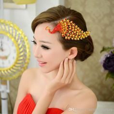 Wholesale Red Phoenix Bridal headdress Chinese style jewelry Wedding Dress Accessories red bridal headdress costume fringed hair plug, Free shipping, $17.81/Piece | DHgate Mobile