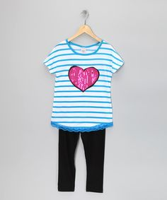 Take a look at this Blue Stripe Heart Tunic & Leggings - Girls by S.W.A.K. on #zulily today!