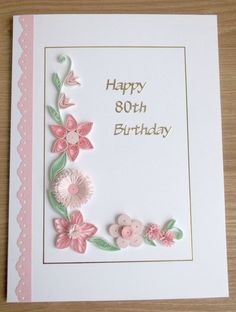 Hecho a mano 80 cumpleaños de la tarjeta papel quilling