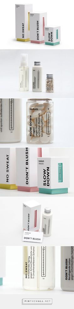 Noskam on Behance by Muskat Berlin Germany curated by Packaging Diva PD. Interesting fictional packaging fighting the symptoms of shame which was the topic of typography class at TH Nürnberg. Medicine Packaging, Tea Packaging, Bottle Packaging, Beauty Packaging, Print Packaging, Coperate Design, Label Design, Branding Design, Logo Design