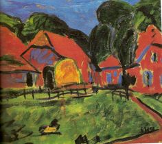 Maisons rouges, 1908 © Erich Heckel
