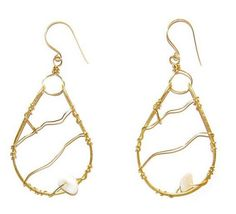 Brass Hoop Wire Earrings with Pearl Rock