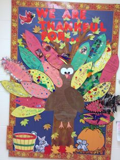 Thanksgiving Bulletin Board- kids take feather templates home to decorate with their families and write something they are thankful for.